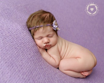 Lavender Newborn Tieback, Silk Headband, Photography Prop