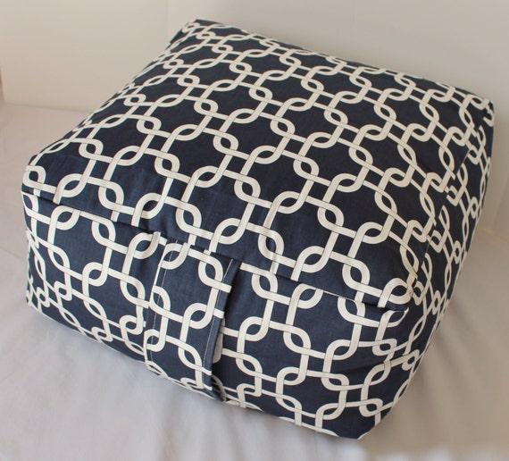 Navy Blue & White Geometric Floor Pouf Pillow Cushion by Henhat