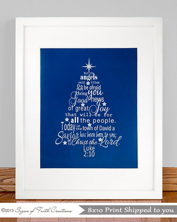 Christmas Tree with Luke 2:10-11 Bible by SignsofFaithCreation