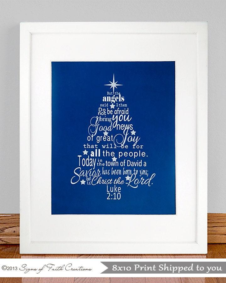 Christmas Tree with Luke 2:10-11 Bible by SignsofFaithCreation