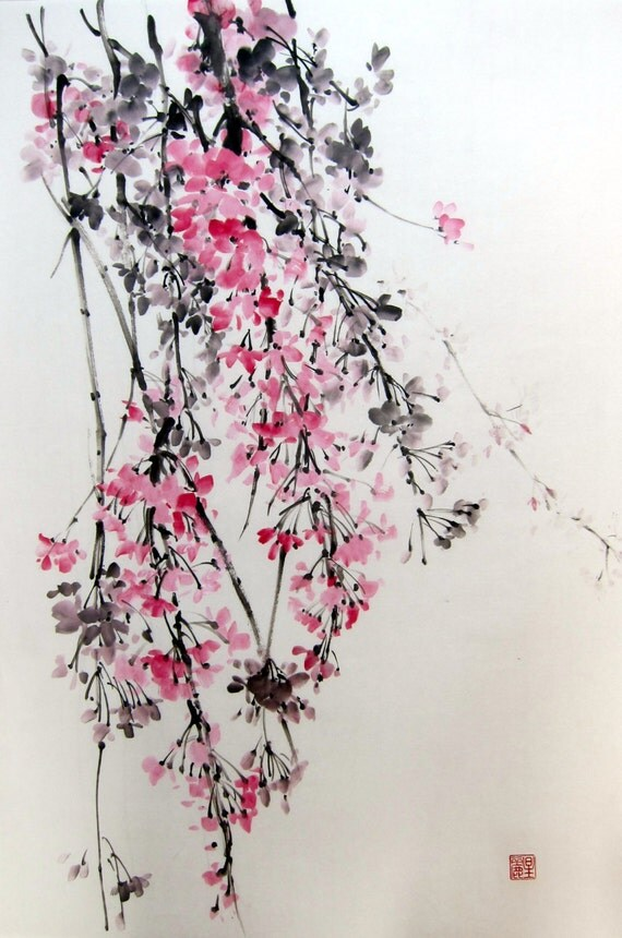 Japanese Ink Painting SuibokugaSumi-e Brush painting Pink