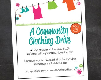 Beautiful Clothing Drive School, Church Or Organization Custom Flyer   Black And  White Or Color, Pertaining To Clothing Drive Flyer Template