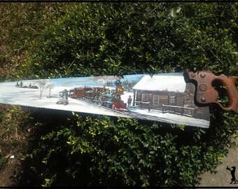 Handpainted Signed Locomotive Train Disston & Sons Folk Art Handsaw Rosalie Rushing