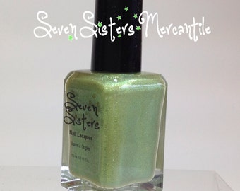 Celaeno - Seven Sisters Nail Lacquer - 15 mL 0.5 Fl Oz. - Pleiades Collection - Lime w/ Yellow & Green Duochrome Light Holo Nail Polish