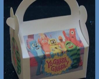 yo gabba gabba favor box, yo gabba gabba baby shower favor, yo gabba gabba birthday favor box