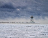 Discounted Print, Lighthouse, Lake Superior, Winter Photography, Cold Winter Day, Sea Smoke, Blue White, Dramatic Landscape, Minnesota
