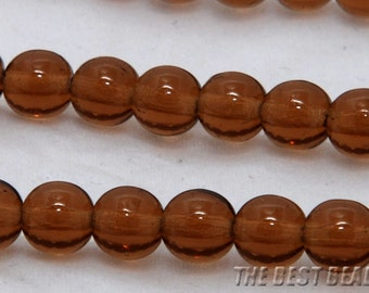 30pcs Brown Round Czech Glass Pressed Beads 6mm