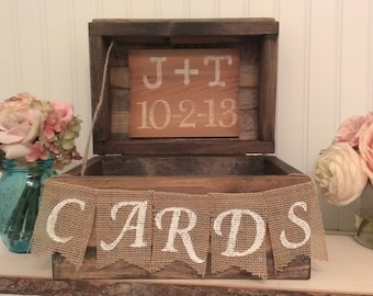 rustic wedding  card box, country wedding reception card box, burlap banner