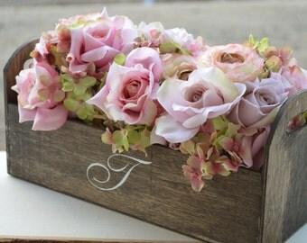rustic wedding centerpiece, monogrammed planter centerpiece, woodland wedding decor
