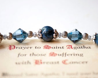 Saint Agatha Rosary Bracelet, Patron Saint of Those Suffering with Breast Cancer, Catholic Jewelry, Survivor Bracelets, St. Agatha Gifts