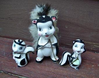 Vintage Skunk Chains Figurines Real Fur