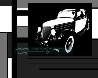 Stylish Black and White Car Art Print,  Wall Art, Auto Art, Classic Car, Modern Decor, Home Wall Decor, Hot Rod, Contemporary Art Print