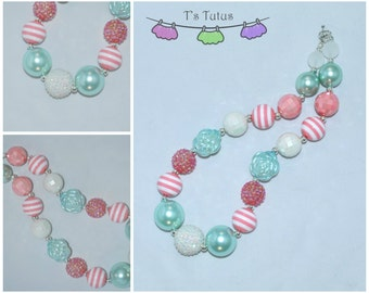 Mint Pink White Pearl Rose Children's Chunky Necklace, Chunky Necklace Chunky Bead Necklace Girls Necklace Pearl Beads