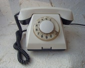 Soviet Vintage White Rotary Telephone Made in USSR in 1968