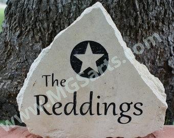 Family Name Stone - Personalized Engraved Limestone Garden Stone-Texas-Star-Heart-Cross Medium Size