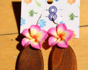 Free shipping - wooden earrings and tiara with polymer clay flowers