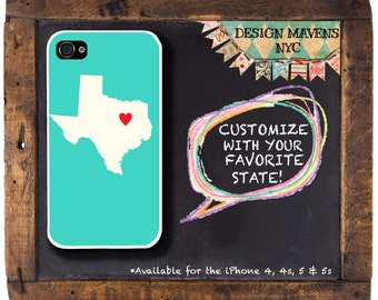 Texas State Love iPhone Case, Personalized iPhone Case, iPhone 4, iPhone 4s, iPhone 5, iPhone 5s, iPhone 5c, iPhone 6, Phone Case
