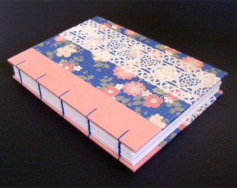 CORAL FLORAL (A6 Coptic Stitched Notebook)