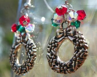 Holiday Wreath Earrings with Swarvoski Crystals - Christmas- Winter