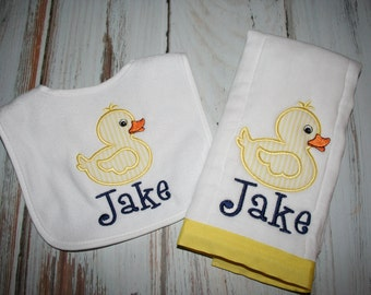 Personalized Rubber Duck Burp Cloth and Bib Set