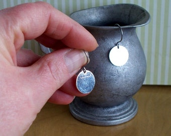 Silver Dots - Silver Plated Disk Earrings SRAJD