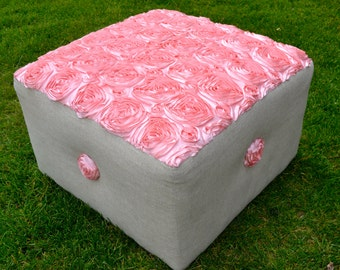 Custom Upholstered Ottoman with Pink Rosette Fabric and French Linen