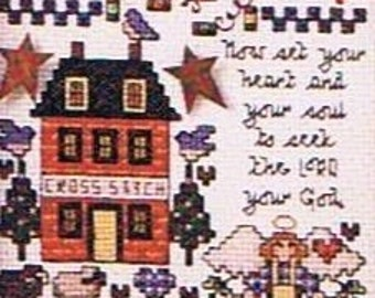 Angel Time from Jeremiah Junction Counted Cross Stitch Folk Art Angels
