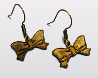 Vintage Bronze Bow earrings Limited Edition Kitsch