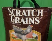 Recycled Feed Bag Tote, reusable tote bag, grocery tote, recycled shopping bags, reusable grocery bag, Purina Scratch Grains Brown