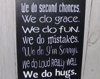 Family Rules Sign, In This Home We Do Second Chances We Do Hugs, Family Sign, Family Motto Sign, Love Sign, We Do Family Sign