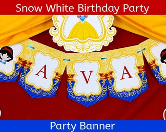 Snow White Party Banner / Snow White Birthday Banner / Snow White Birthday Party - BANNER