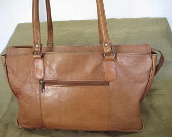 Large genuine natural tan leather shopping tote bag distressed book bag
