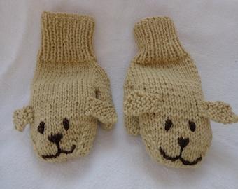 Hand Knit Children's Golden Puppy Mittens-small size
