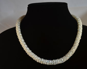 Radiant Swarovski Crystal and Mother of Pearl Necklace- Perfect for weddings!