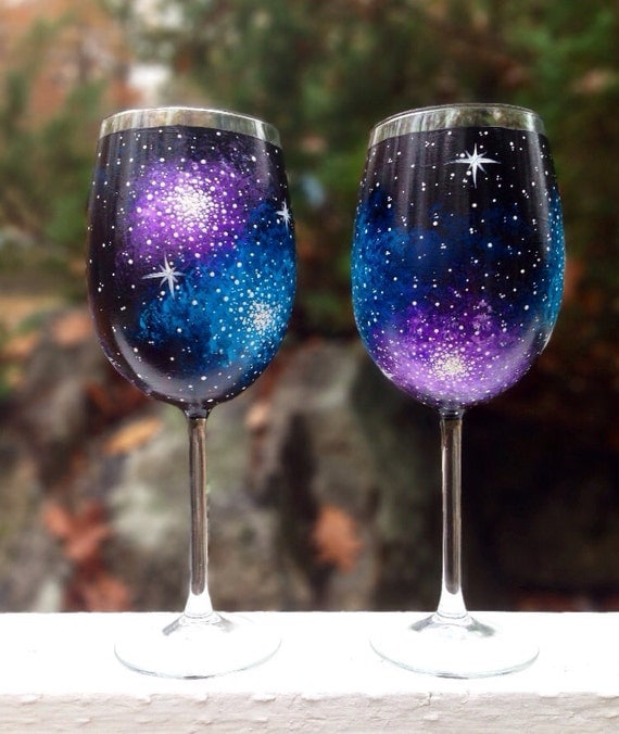 Hand painted galaxy wine glasses set of 2 for Painting while drinking wine