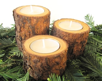 Tree Branch Candle Holders, Reclaimed Wood Candle Holders, Wooden Candle Holders, Set of 3