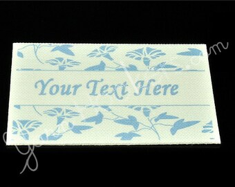 Floral Print - White Cotton Custom Printed Labels / Sew in Clothing labels / Personalized Fabric Labels - For Crochet, Knit, Sewing