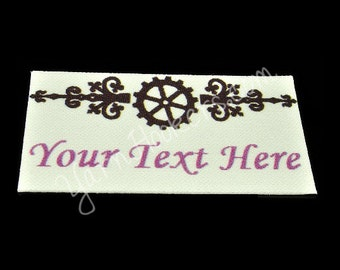 Steam Punk - White Cotton Custom Printed Labels / Sew in Clothing labels / Personalized Fabric Labels - For Crochet, Knit, Sewing