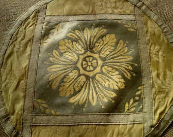 Victorian Silk Velvet Table Center  French 1900's Handmade Green Bronze and Yellow Gold Floral Doily Satin Doubled #sophieladydeparis