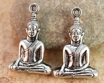 2 Buddha Charms Buddha Pendants Antiqued Silver Doubled sided 3D 23 x 30mm