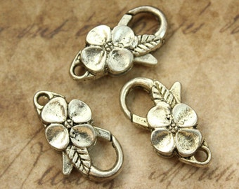 5 Flower Lobster Clasp antique silver tone