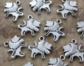 10 Lion Charms Lion Pendants Antiqued Silver Tone Double Sided 15 x 15 mm