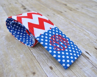 Monogrammed chevron camera strap cover (royal blue/red)