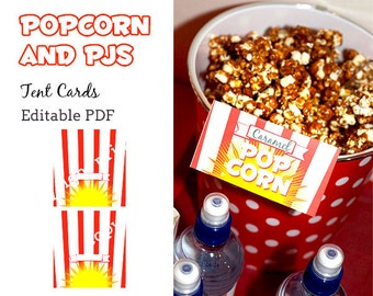 Popcorn and PJs tent cards - editable pdf - INSTANT DOWNLOAD