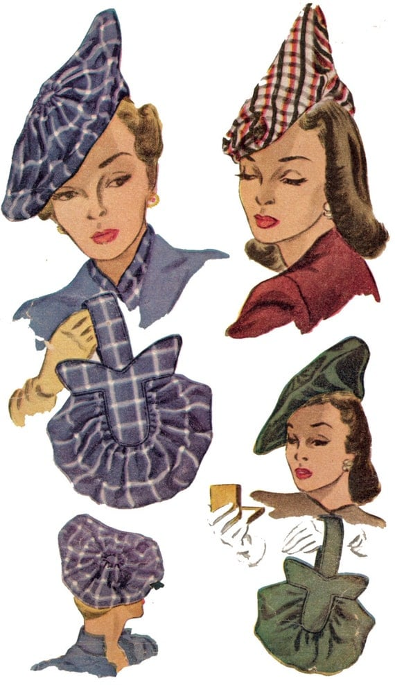 1940s Fabrics and Colors in Fashion 1940s Ladies Hats and Purses - Reproduction Sewing Pattern #H1318 $13.00 AT vintagedancer.com