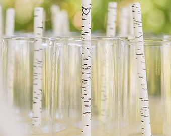 75 Birch Paper Straws - Party and Wedding Straws - Rustic Wedding