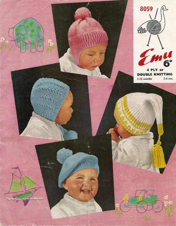 Vintage Knitting Patterns Baby Hats : PDF Knitting Pattern Four Vintage Baby Hats 4 Ply / DK 1-12