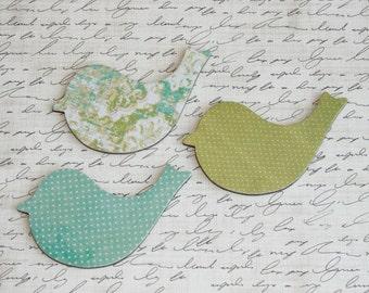 Green and blue magnet set, Bird magnets, Fridge magnets, Bird decor, Nature lover gift, Decoupage magnets