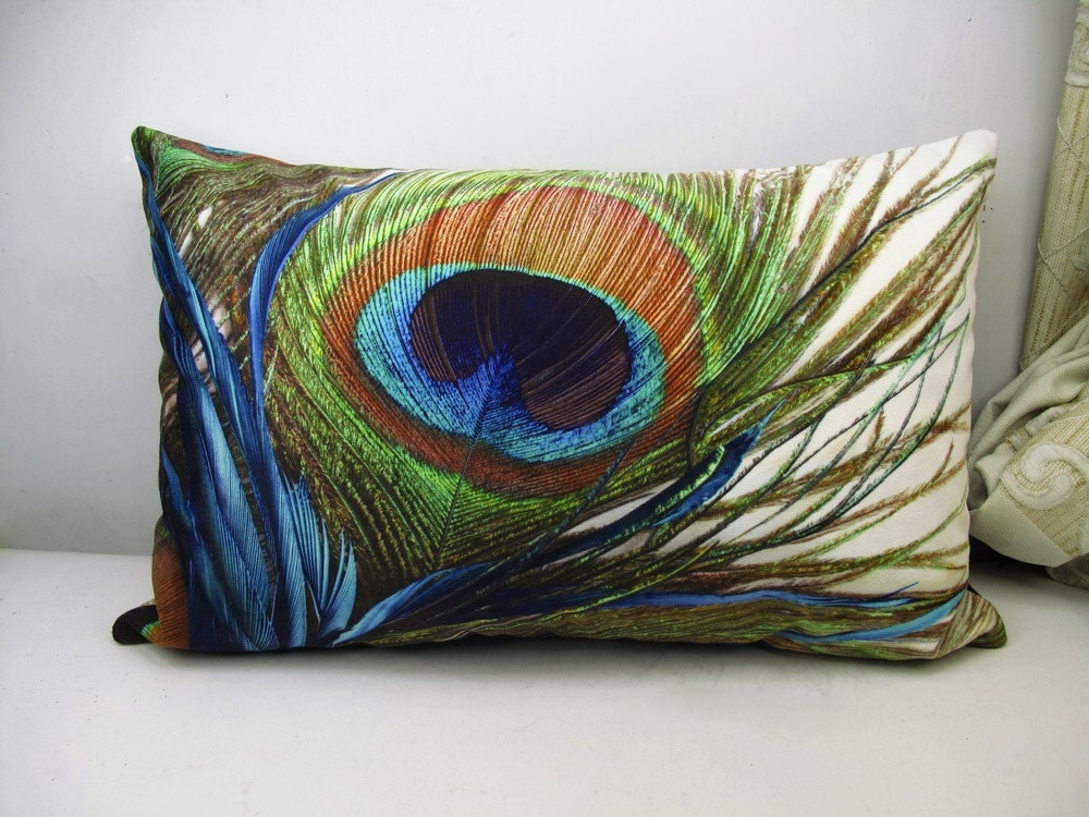 Velvet Decorative Pillow Covers : PROMOTION Velvet Pillow Cover Peacock feather pillowcase
