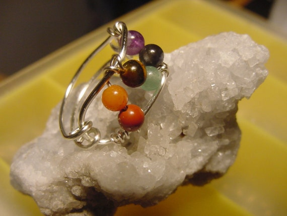 Chakra Ring, Semi Precious Stones, Wire Wrapped Silver, Harmonize, Reiki Jewelry, Chakra Jewelry, Healing Jewellery, Spiritual
